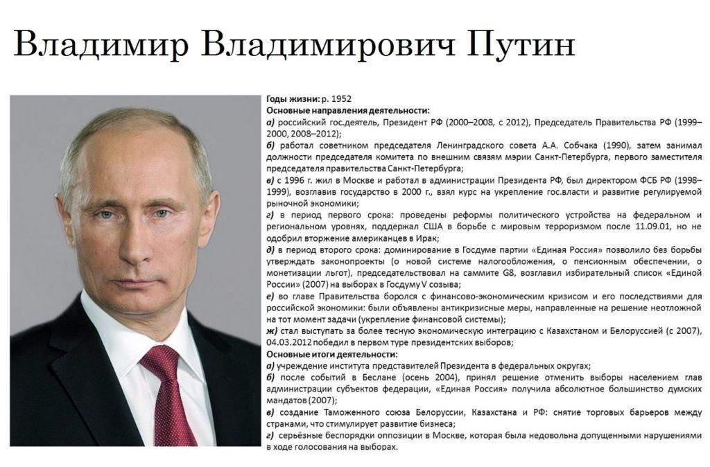 В.В.Путин, исторический портрет